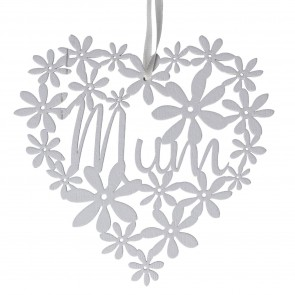 White Fretwork Mum Heart