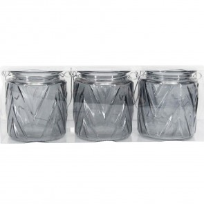 Set of Grey Chevron Tea Light Holders
