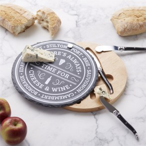 Round Slate Cheese Board Set