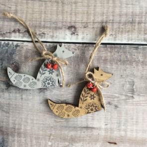 Set of Wooden Fox Decorations