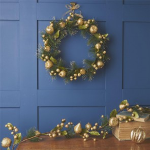 Gold Glitter Fruit Christmas Wreaths