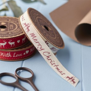 Merry Christmas Stag Gift Ribbon