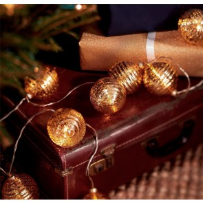Gold Glass Bauble Battery Lights
