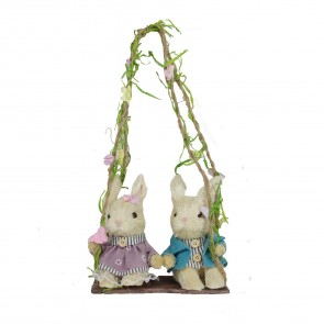 Two Bristle Easter Bunnies on Swing Decoration