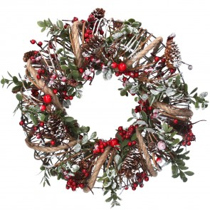 Wreath 32cm - Wire Ring w String/Holly/Cones