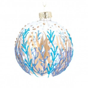 Glass Dec 8cm - Clear w Blue/Gold Painted Seaweed