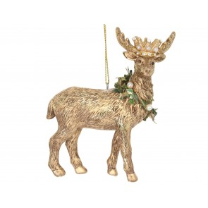 Resin Decoration 9.5cm - Gold Stag/Crown & Wreath