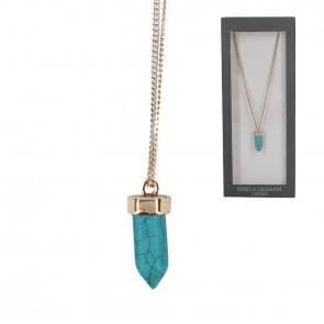 Turquoise Hexagon Gold Coloured Charm Necklace