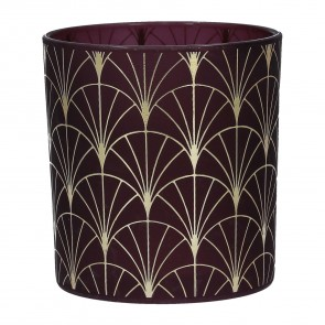 Plum and Gold Fan Tea Light Holder