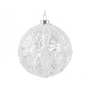 Clear Glass Bauble With Glitter Wavy Stripe