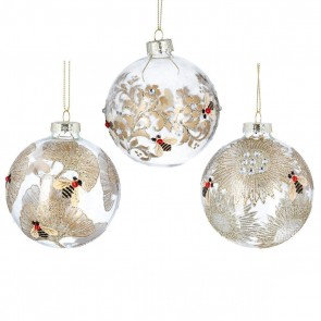 Set of 3 Glass Dec 8cm - Clear Bauble w Gold Leaves/Bees