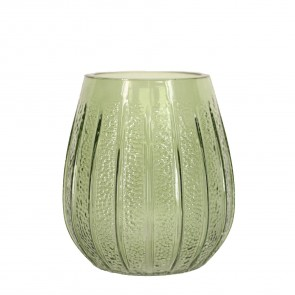 Green Glass Dimpled Glass Vase - Small