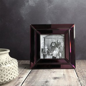 Purple Mirrored Square Photo Frame