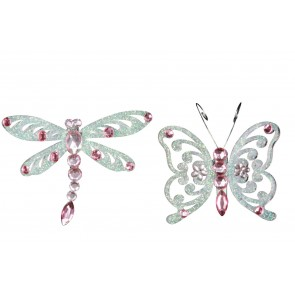Set of 2 Jewelled Decorations 8cm - Pink Butterfly/Dragonfly