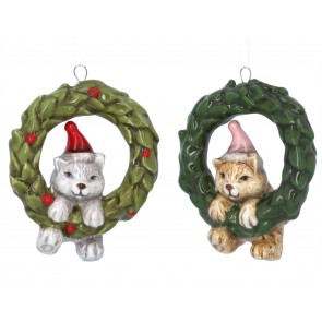 Set of 2 Ceramic Decorations 8cm - Cats in Wreaths