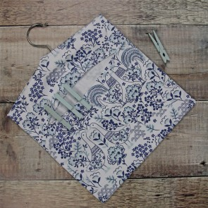 Scandi Blue & White Fabric Peg Bag
