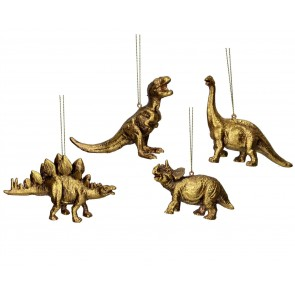 Set of 4 Resin Decorations 10cm - Gold Dinosaurs
