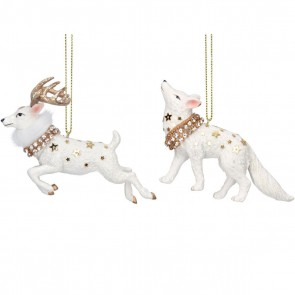 Set of 2 Resin Dec 8cm - White/Gold Stag/Wolf