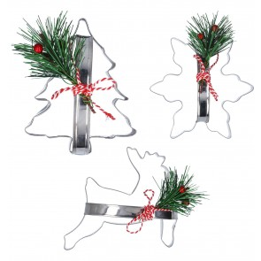 Set of 3 Metal Christmas Cookie Cutter 12cm
