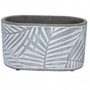 Grey Palm Design Oval Concrete Pot Cover