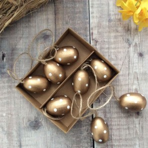 Gold and White Wood Mini Easter Egg Decorations - Set of 8