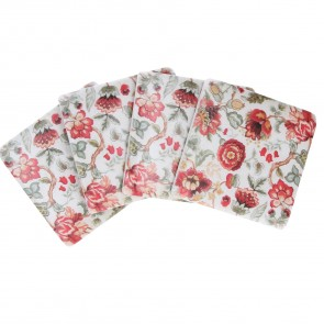 Dark Red Trailing Blooms Design Coasters