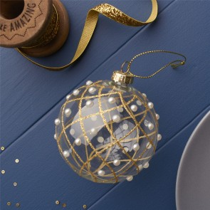Gold Bauble with Glitter Lines & Pearls