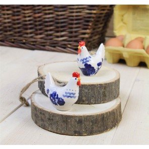 Blue and White Ceramic Hen Decorations - Set of Two