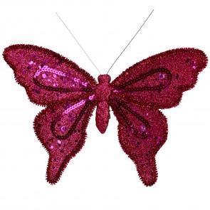 Fabric & Sequin Fuchsia Clip-on Butterfly Decoration, 22cm