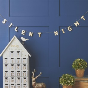 Gold Silent Night Christmas Garland
