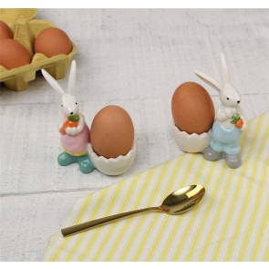 Ceramic Boy and Girl Bunny Egg Cup - Set of Two