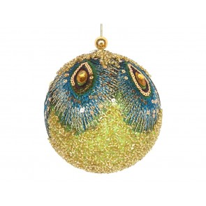 Beaded Bauble 10cm - Gold/Peacock Feathers