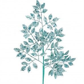 Spray 69cm - Blue Glitter Leaf