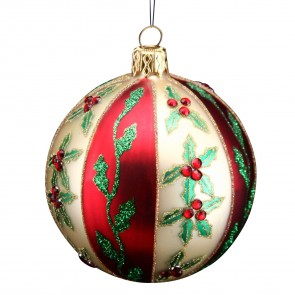 Red And Gold Holly Bauble
