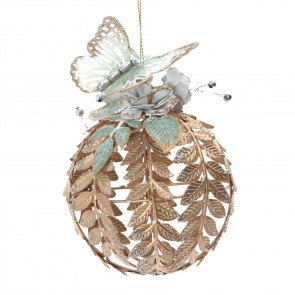 Filigree Gold Bauble with Cream Butterfly Christmas Tree Decoration, 12cm