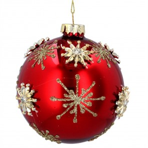 Glass Bauble 8cm - Red/Gold w Jewelled Stars