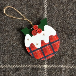 Wooden Tartan Christmas Pudding Decoration