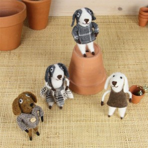 Wool Mix Puppy Boy and Girl Easter Decorations - Set of Four