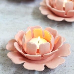 Pink Flower Tea Light Holder