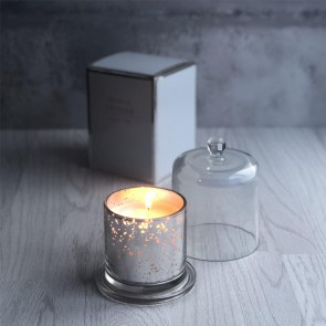 Silver Lustre Candle with Cloche - Medium
