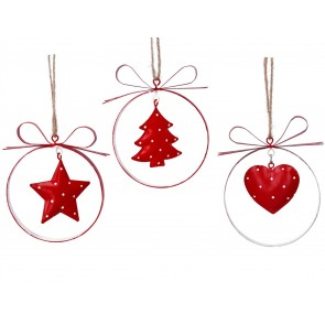 Set of 3 Metal Decorations 10cm - Red Star/Tree/Heart Ring