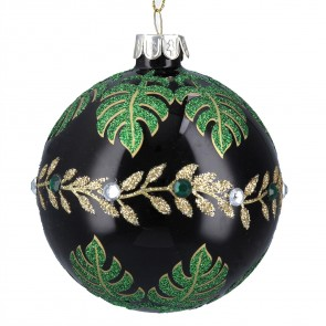 Deep Green Glass Christmas Bauble with Tropical Leaves Design, 8cm
