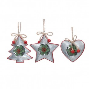 Set of 3 Metal Dec 10cm - Silver Shapes w Tin Holly