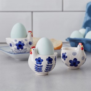 Set of Three Blue and White Chicken Egg Cups