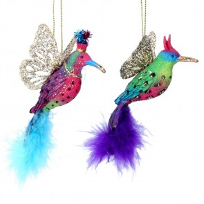 Resin Decoration (10cm) - Hummingbird w Feathers, 2as