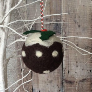Wool Christmas Pudding Bauble