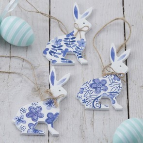 Blue and White Wooden Bunny Decorations