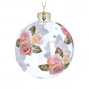 Glass Bauble 8cm - Clear w Pink Glitter Roses