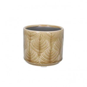 Mini Mustard Leaf Ceramic Pot Cover