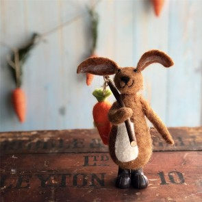 Brown Wool Bunny Easter Decoration